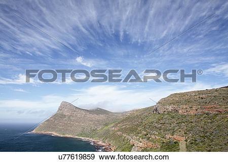 Stock Photograph of Cirrus fibratus radiatus clouds u77619859.