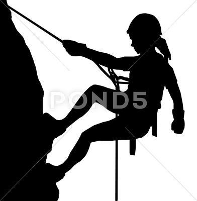 Rock Climbing Black N White Clipart.