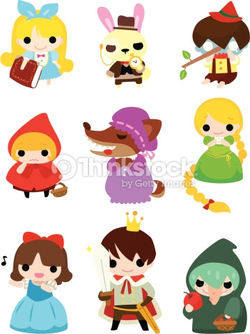Cartoon Story People Icon Set Vector Art.
