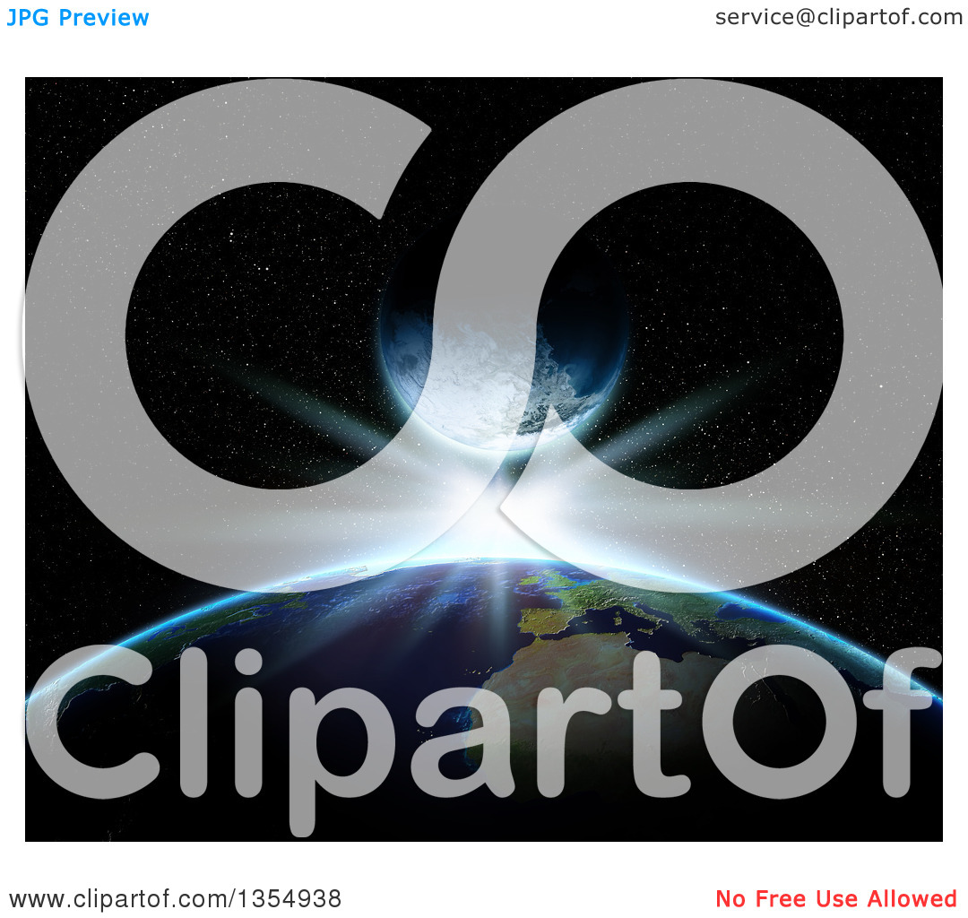 Clipart of a 3d Planet Earth with a Bright Star and Fictional.