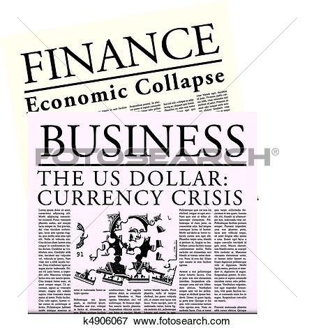 Clip Art of Fictitious Economical Newspaper k4906067.