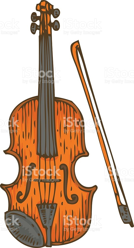 Wooden Fiddle Or Violin With Fiddlestick stock vector art.