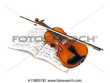 Stock Photography of Violin and fiddle stick over score k11883130.