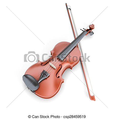 Clipart of Violin and fiddlestick isolated on white background. 3d.