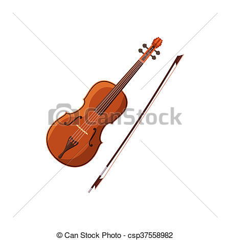 Stock Illustration of Violin with fiddlestick icon, cartoon style.