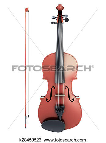 Drawing of Violin and fiddlestick front view k28459523.