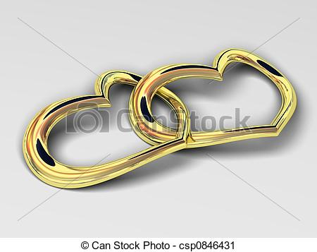 Clipart of Heart gold costume jewellery sign on love and fidelity.