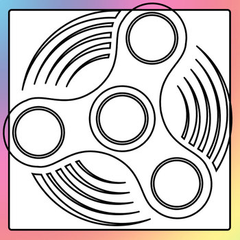 Fidget Spinner Simple Shapes Templates Black and White Clip Art Commercial  Use.