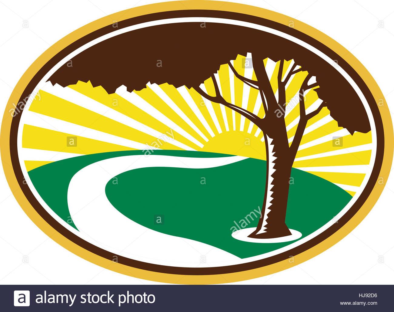 Graphics, Tree, Field, Stream, Illustration, Farm, Retro, Orchard.
