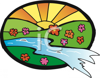 Clipart Picture of a Sunrise in a Field of Flowers With a Stream.