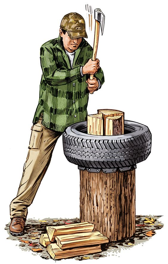 Outdoor Skills: Use Tires to Make a Better Chopping Block.
