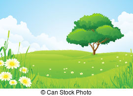 Tree clipart with field.