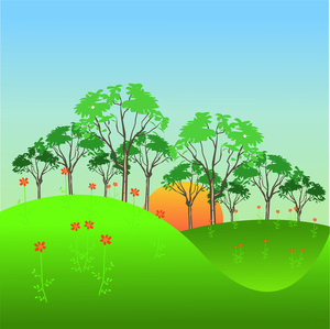 Rolling hill tree clipart.