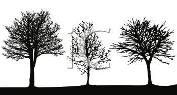 Royalty Free Clipart Image: Silhouette of Three Trees in a Field.