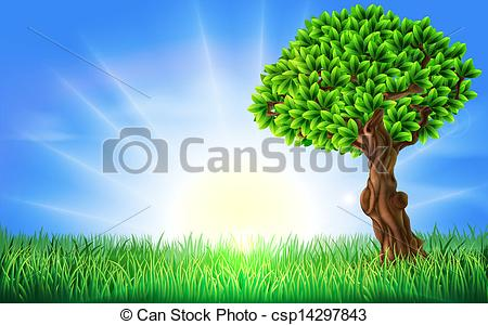 EPS Vector of Sunny Field Tree Background.