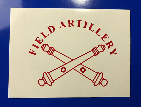 Red Field Artillery Crossed Cannons Vinyl Decal New Gift.