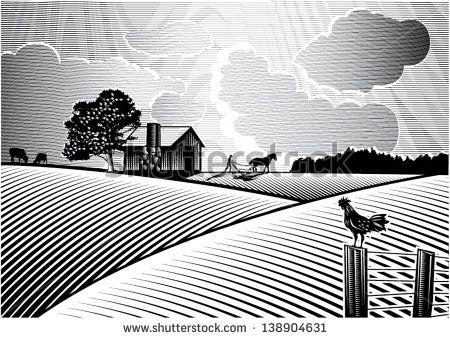 farm fields clipart black and white.