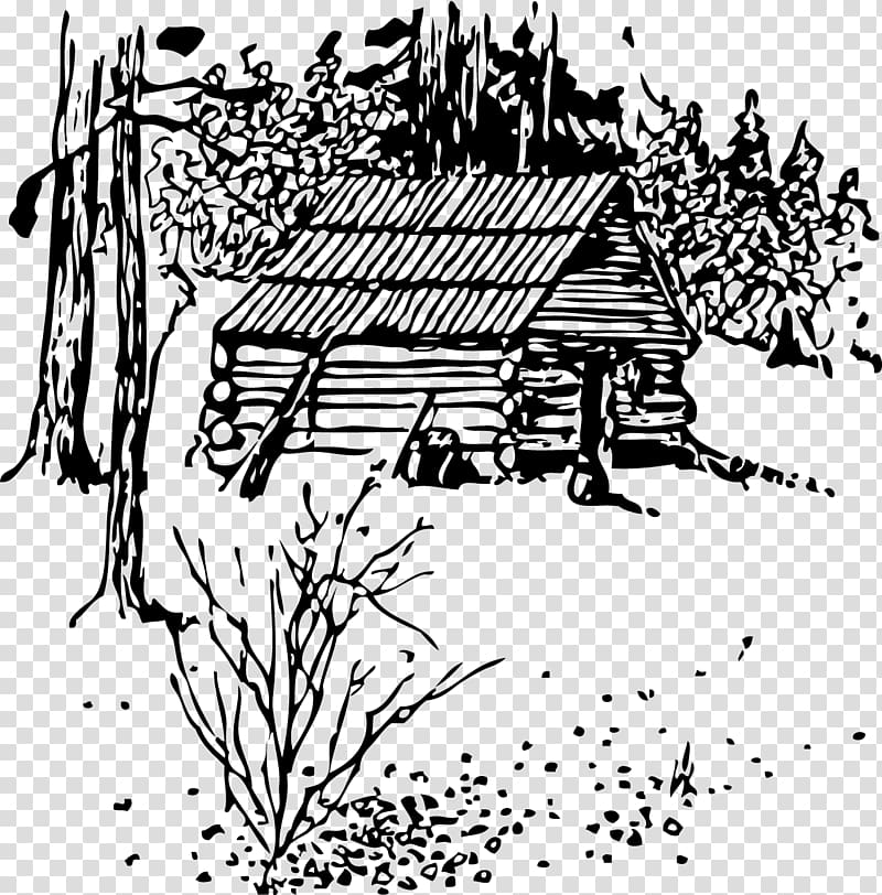 Log cabin Black and white , field house transparent.