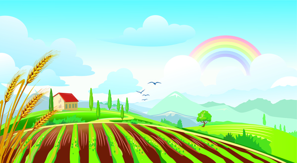 Farm Field Clipart Background.