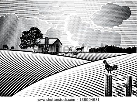 farm fields clipart black and white.