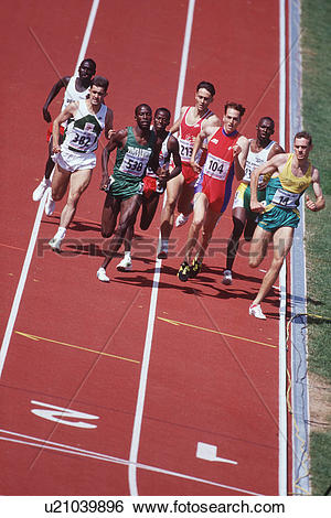 Stock Images of Track and field competition, distance runners on.