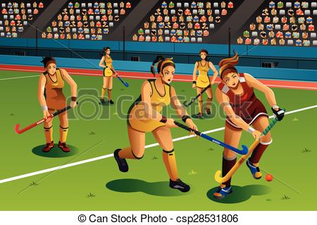Vector Clipart of People Playing Field Hockey in the Competition.