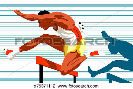 Clip Art of Runner hurdling in track and field competition.