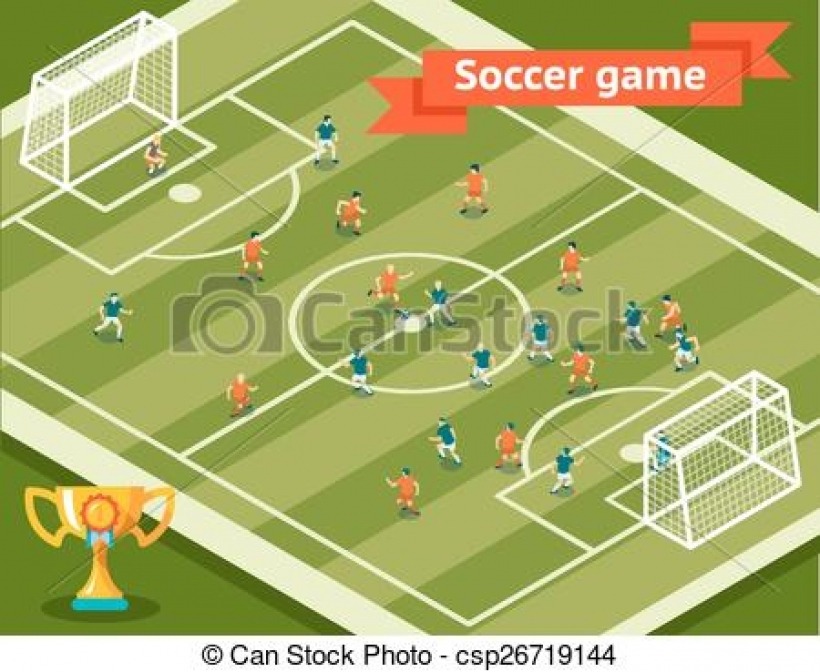 eps vector of soccer game football field and players competition.