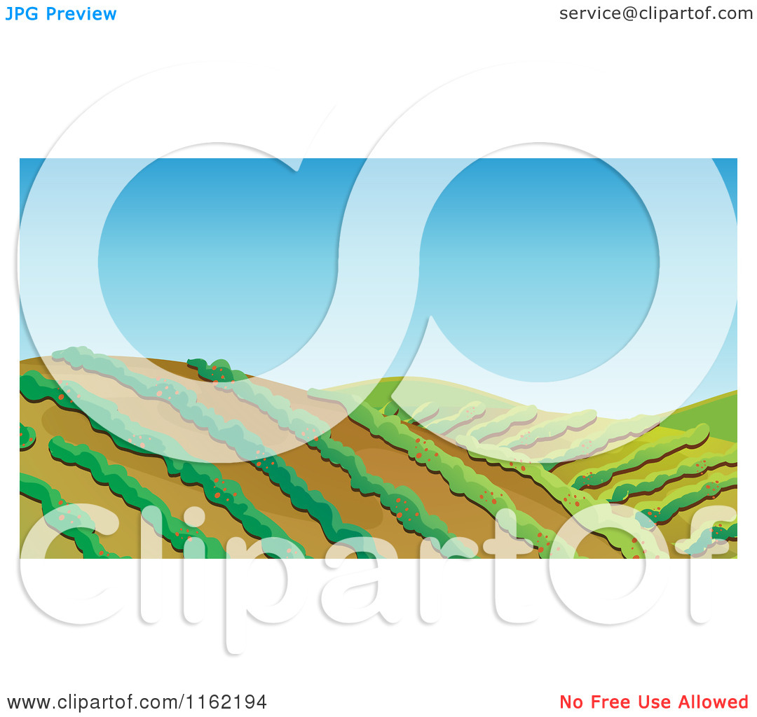 Cartoon of Hilly Farm Land with Rows of Crops.