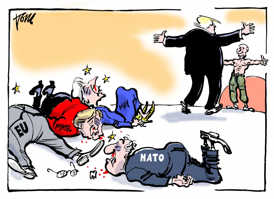 Donald Trump visits the UK, Britain, NATO, and Putin and.