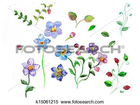 Stock Illustration of watercolor Field flowers k15061215.