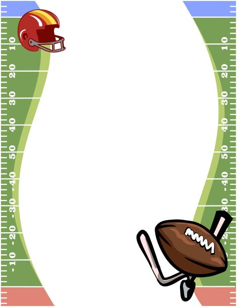 Page border featuring a football field, helmet, and ball. Free.