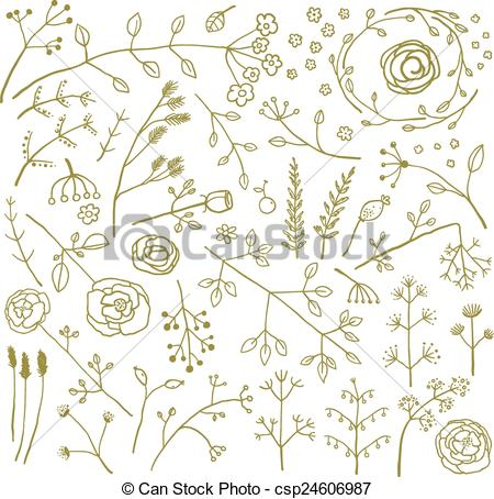 Vector of Field Flowers and Plants Decoration Collection.