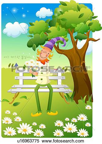 Stock Illustration of long hat, tree, house, field, hat u16963775.