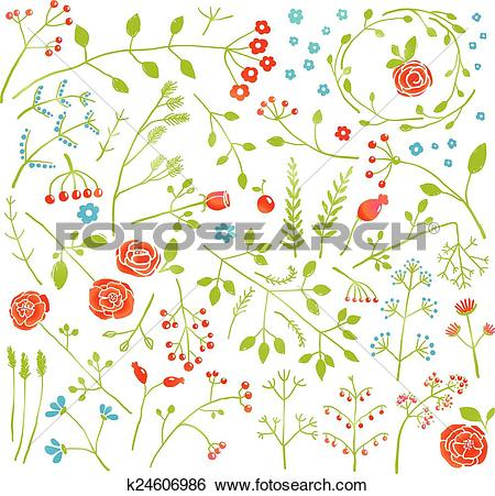 Clip Art of Floral Doodle Field Flowers and Plants Decoration.