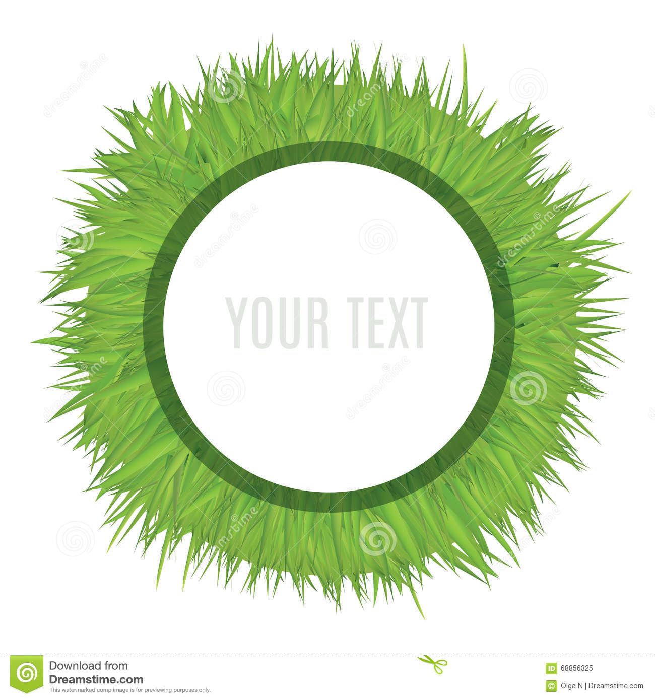 White Circle Frame Template On Grass Field. Decorative Vector.
