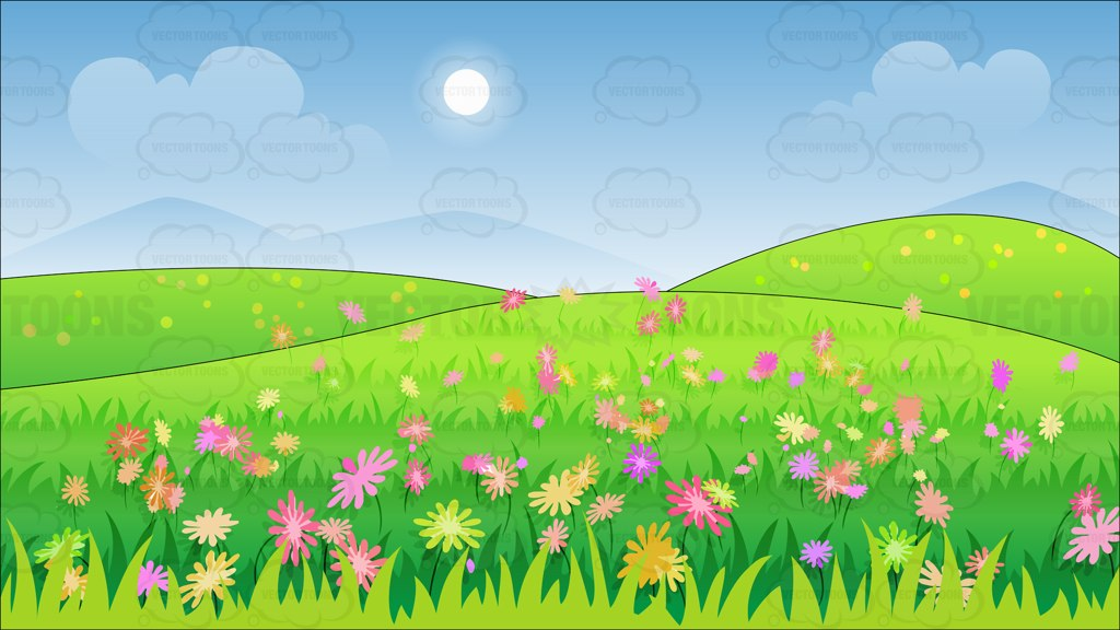 Field of flowers clipart.