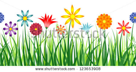 Colorful Border Depicting Flowers Field Grass Stock Illustration.