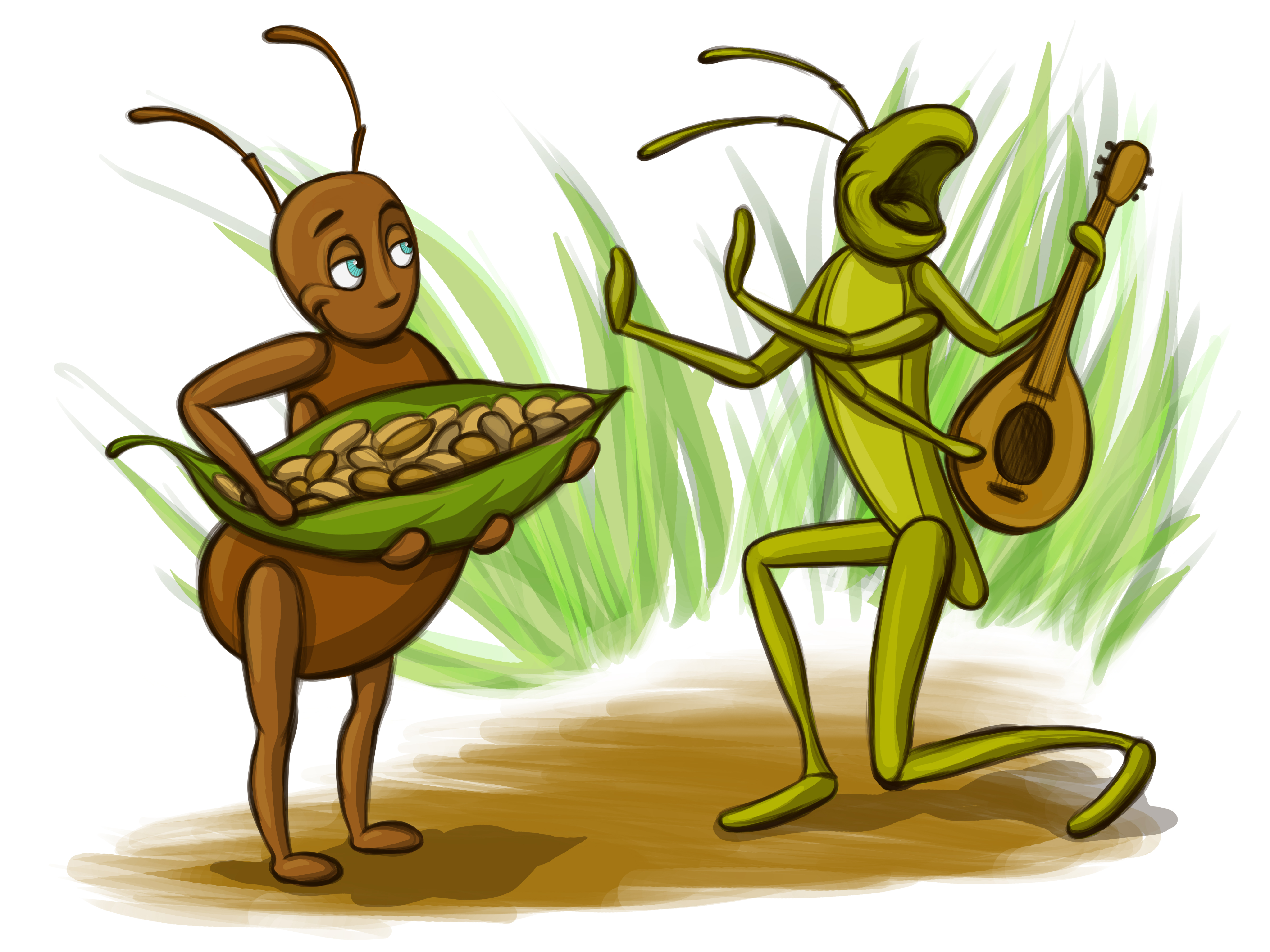Grasshopper and the Ant by Adelya Tumasyeva at Coroflot.com.