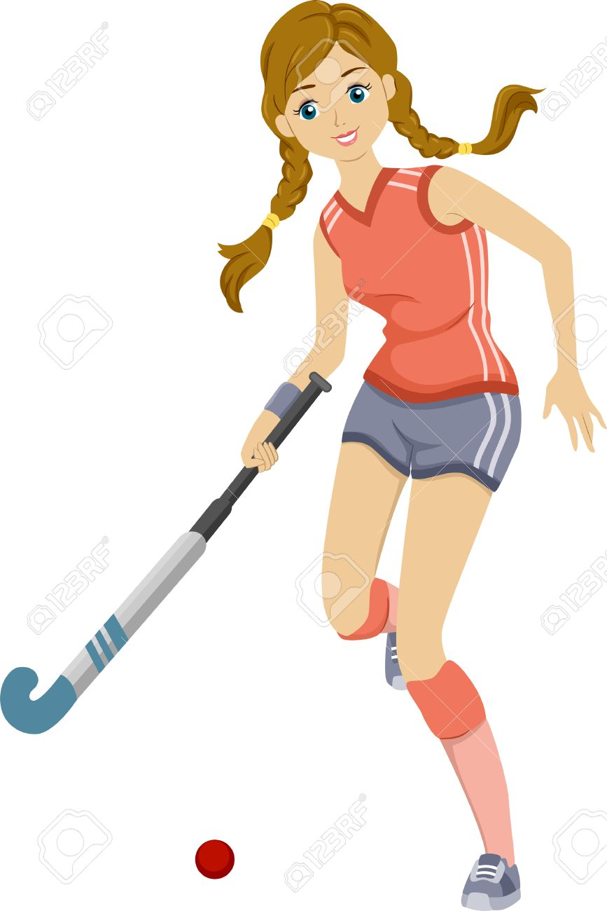 Girls field hockey clipart.