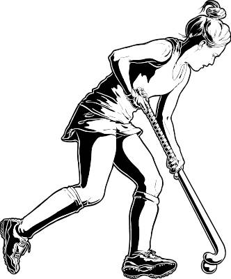Girls Field Hockey Player Clipart.