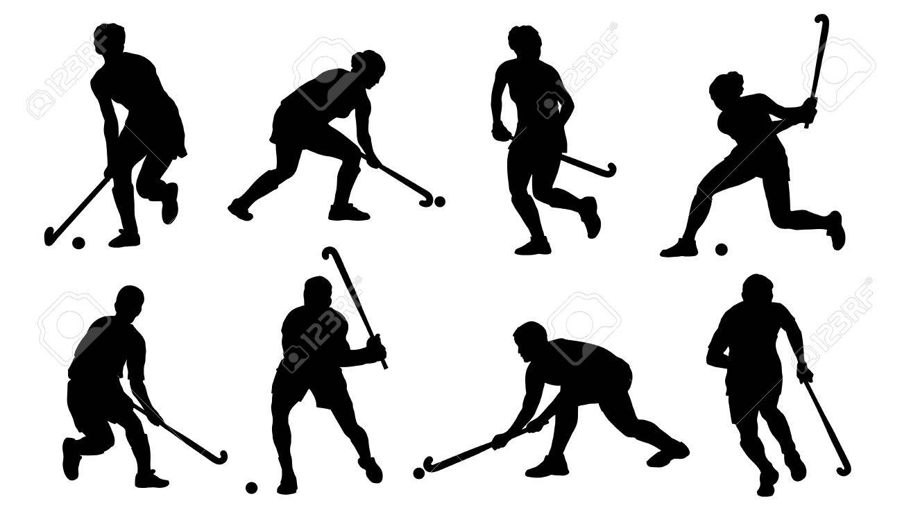 field hockey silhouettes on the white background.