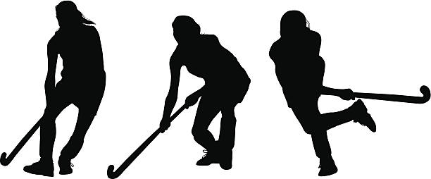 Field Hockey Player Illustrations, Royalty.