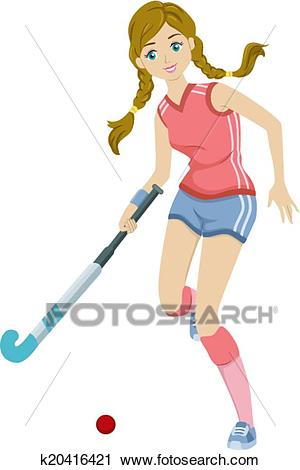 Field Hockey Girl Clipart.