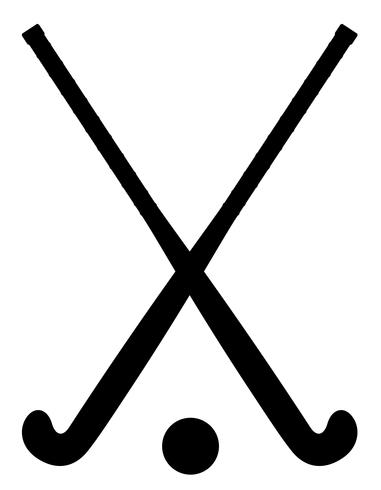field hockey equipment black outline silhouette vector.