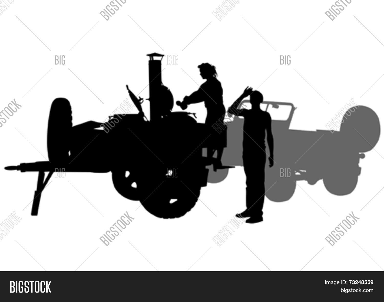 Silhouette of military field kitchen white background Stock Vector.