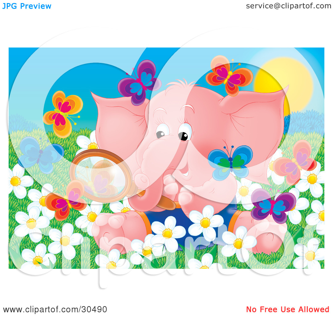 Clipart Illustration of a Cute Pink Baby Elephant Sitting In A.