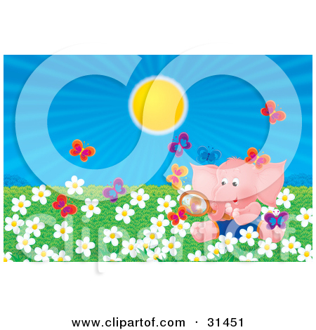 Clipart Illustration of a Pink Elephant Sitting In A Field Of.