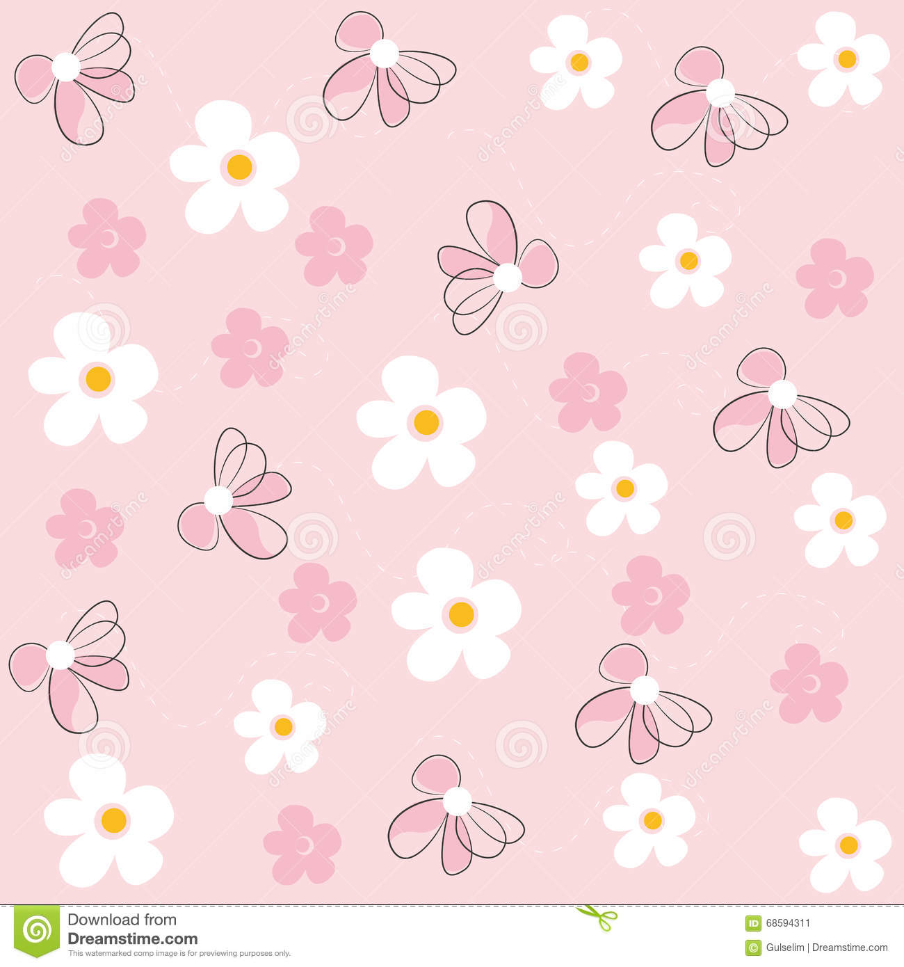 Daisy Flower Field Pattern Vector Pink Background Stock Vector.