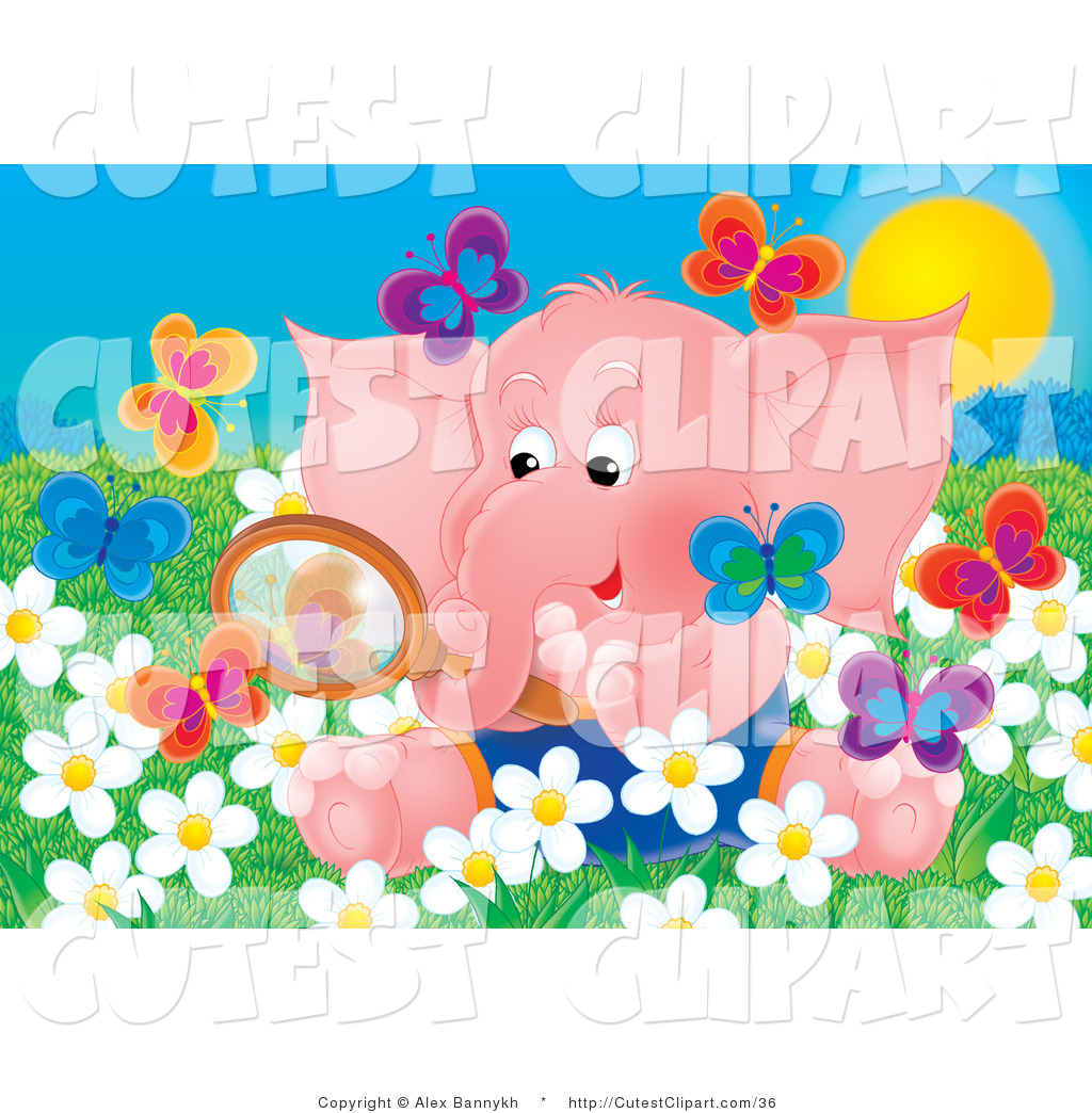 Clip Art of a Cute Pink Baby Elephant Sitting in a Field of White.